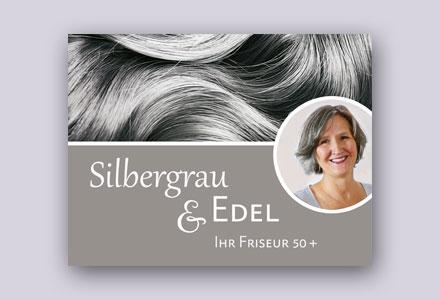 Logo, Visitenkarten | Silbergrau & Edel, Friseurin